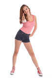 Daumen up Erfolgszeichen durch schönes Jugendlichmädchen Lizenzfreie Stockbilder