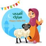 Daumen Up moslemisches Mädchen mit Eid Al-Adha Sheep lizenzfreies stockfoto