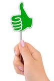 Daumenzeichen in der Hand Lizenzfreies Stockfoto