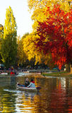 The Daumesnil lake in autumn , Vincennes forest,Paris, France. Paris, France-October 30, 2016-The Daumesnil lake is the largest lake in bois de Vincennes and Royalty Free Stock Image