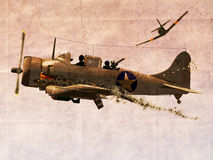 Dauntless Dive Bomber Plane. Illustration of  World War two Dauntless Dive Bomber Plane engaged in a dogfight on grunge background Stock Image