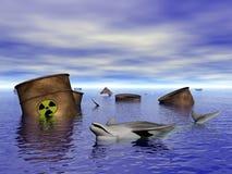 Dauphin en eau polluée Photographie stock libre de droits