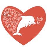 Dauphin sous forme de coeur avec la fleur dans sa bouche Conception tirée par la main pour St Valentine Day Carte de voeux photo stock