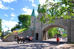 Dauphine Gate. QUEBEC CITY, CANADA - AUGUST 25: Porte Dauphine Gate part of Old Quebec, a UNESCO world heritage treasure on August 25, 2010 in Quebec City Stock Images