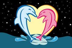 Dauphins dans l'amour Photos libres de droits