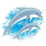 Dauphins et éclaboussure de l'eau illustration stock