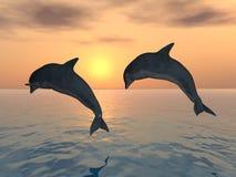 Dauphins sautants illustration libre de droits