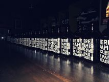 Biere des amis row of Belgian / Belgium beer bottles at a local bar. stock images