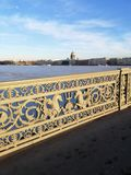 Fragment of a bridge over the river horse royalty free stock images