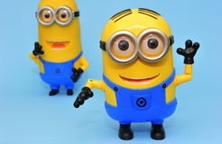 Dave and Kevin funny minions. Minions movie characters called Dave and Kevin Stock Image