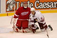 Dave Scatchard And Dominic Hasek Royalty Free Stock Photography
