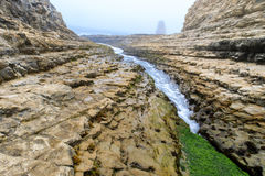 Davenport Crack in Summer Overcast. Davenport Beach in Davenport, Santa Cruz County, California, USA Stock Photos