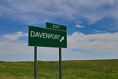 Davenport. US Highway Exit Sign for Davenport HDR Image royalty free stock images