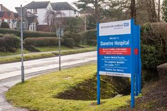 Daventry UK March 13 2018: NHS Danetre Hospital logo sign post.  Royalty Free Stock Image