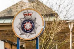 Daventry UK March 13 2018: Northamptonshire Police logo sign stand in Daventry town centre.  Stock Photo