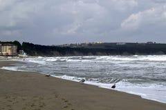 Daverende golven, blauwe overzees Stock Foto's