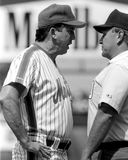 Davey Johnson, New York Mets. New York Mets manager Davey Johnson argues with an umpire.   (Image taken from B&W negative Royalty Free Stock Photo