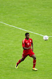 David Alaba from Bayern Munich soccer club. David Alaba from Bayern Munich kicking the ball Royalty Free Stock Photography