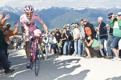 David Arroyo Giro d'Italia Plan de Corones. Giro d'Italia 2010 in Plan de Corones Stock Photos