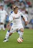 David Beckham in action. Real Madrid player english David Beckham during Spanish league football match between RCD Espanyol and Real Madrid at the Santiago Stock Photography