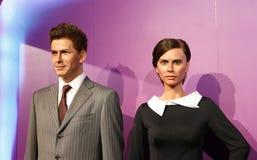 David Beckham i Wiktoria, wosk statua, wosk postać, figura woskowa Zdjęcie Royalty Free