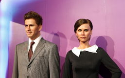 David Beckham och Victoria, vaxstaty, vaxdiagram, waxwork royaltyfri foto