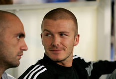 David Beckham of Real Madrid. In before the match between Espanyol and Real Madrid at the Olympic Stadium on September 18, 2004 in Barcelona, Spain Royalty Free Stock Photo