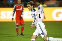 David Beckham TFC versus het Voetbal van de Melkweg MLS van La stock afbeeldingen