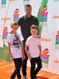 David Beckham u. Romeo James Beckham u. Cruz David Beckham stockfotos