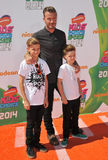 David Beckham u. Romeo James Beckham u. Cruz David Beckham lizenzfreie stockfotos