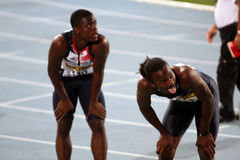 David Bolarinwa and Aaron Ernest after the finish Royalty Free Stock Image