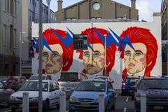David Bowie-Graffiti auf einer Straße in Auckland Lizenzfreie Stockfotos