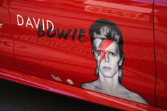David Bowie. MAY 19, 2014 - BERLIN: advertisement on a car - impressions from the David Bowie exhibition in the Martin Gropius-Bau, Berlin-Tiergarten Stock Image