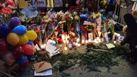 David Bowie Memorial At 285 Lafayette gata 17 Arkivbild