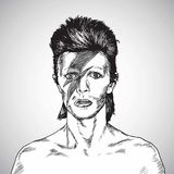David Bowie Portrait Drawing Vector 31 de octubre de 2017 ilustración del vector