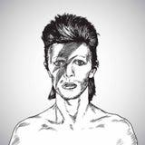 David Bowie Portrait Drawing Vector 31 octobre 2017 Photographie stock libre de droits