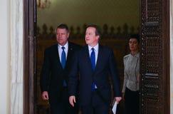 David Cameron и Klaus Johannis Стоковые Изображения RF