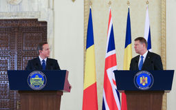 David Cameron and Klaus Johannis. British Prime Minister David Cameron ( L ) visited Romanian President Klaus Johannis at presidential Cotroceni Palace, in Stock Image