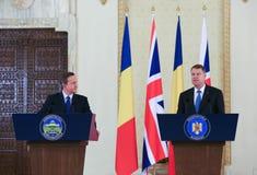 David Cameron and Klaus Johannis Royalty Free Stock Photo