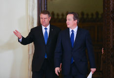 David Cameron and Klaus Johannis Royalty Free Stock Photos