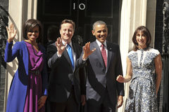 David Cameron, Michelle Obama, Barack Obama. President Barack Obama and wife Michelle meet David Cameron and his wife, Samantha at No.10 Downing Street, London Stock Photography