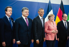 David Cameron, Petro Poroshenko, Barack Obama, Angela Merkel, Fr Stock Photos