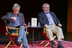Pulitzer Prize–winning investigative reporter and bestselling author David Cay Johnston and KPFK Host Terrence McNally stock image