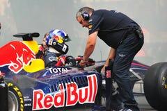 David Coulthard en Red Bull que compite con el coche F1 Fotos de archivo libres de regalías