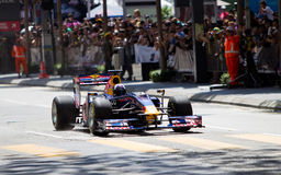 David Coulthard speeds the straight at a F1 demo Royalty Free Stock Images