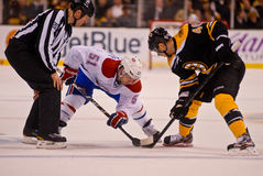 David Desharnais and David Krejci face-off Royalty Free Stock Images