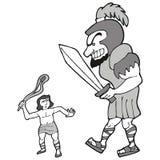 David e goliath ilustração stock