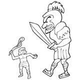 David e goliath illustrazione vettoriale
