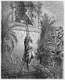 David escapes through a window. Picture from The Holy Scriptures, Old and New Testaments books collection published in 1885, Stuttgart-Germany. Drawings by royalty free illustration