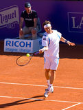 David Ferrer. BARCELONA - APRIL 29: Spanish tennis player David Ferrer in action during his final match against Rafael Nadal at Barcelona tennis tournament Conde Stock Photography